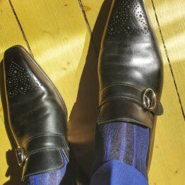 viccel socks navy blue royal blue shadow over the calf socks
