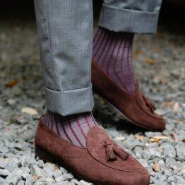 viccel Gray Burgundy Shadow cotton socks