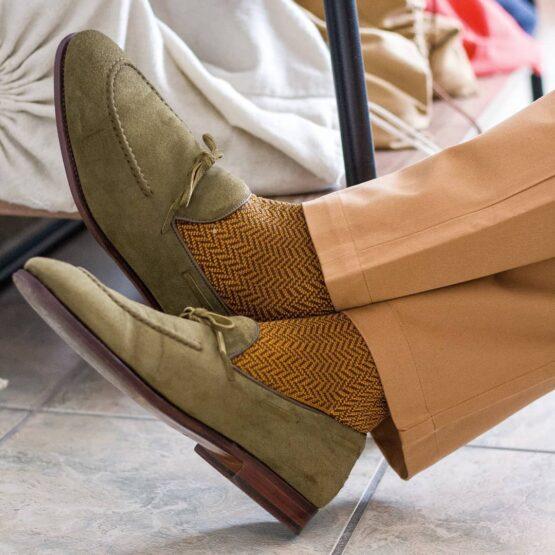 brown mustard herringbone cotton socks