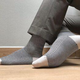 viccel raw black herringbone over the calf luxury socks