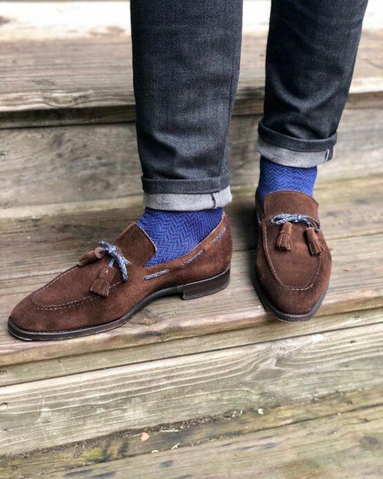viccel socks navy blue royal blue herringbone over the calf luxury socks
