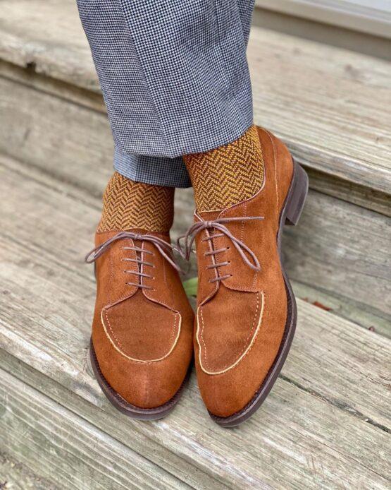 viccel socks brown mustard herringbone over the calf cotton socks