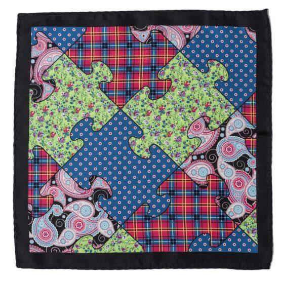 100 silk four panel pocket square paisley