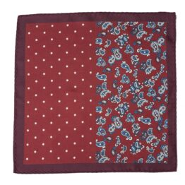 100 silk four panel pocket square paisley