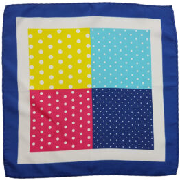 100 silk four panel pocket square polka dots
