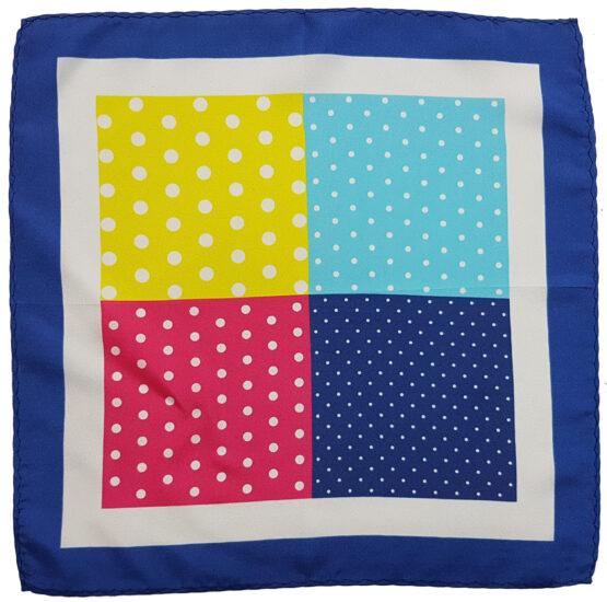 100 silk four panel pocket square polka dots