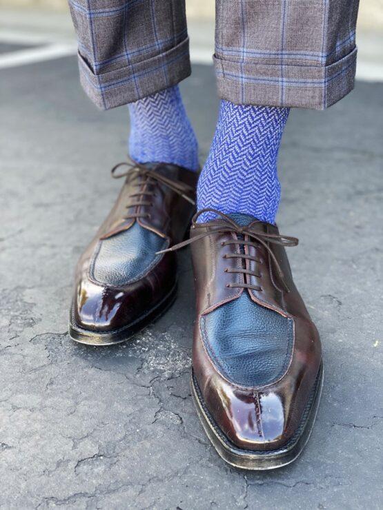 viccel wool silk sax white over the calf socks