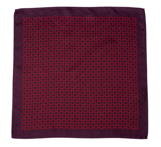 100 silk pocket square polka dots white Burgundy