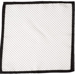 100 silk pocket square polka dots white black