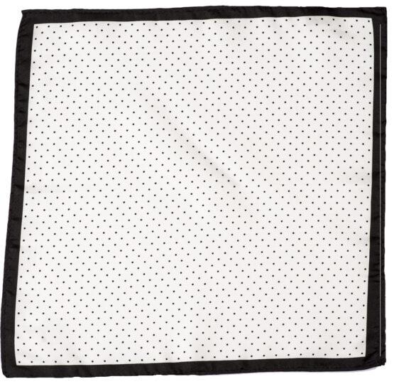 100 silk pocket square polka dots white black