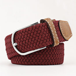 elastic mens belt no hole need burgundy red