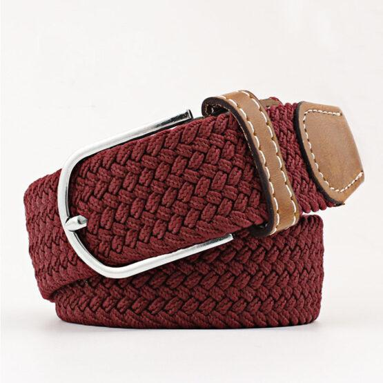 elastic mens belt no hole need burgundy red