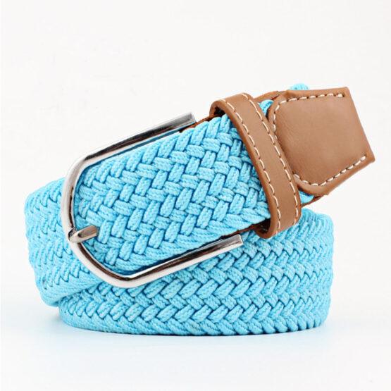 elastic mens belt no hole need turqouse light blue