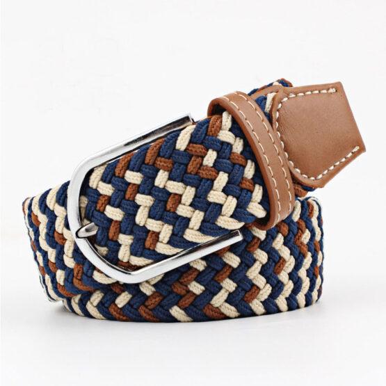 elastic mens belt no hole need turqouse Cream brown navy