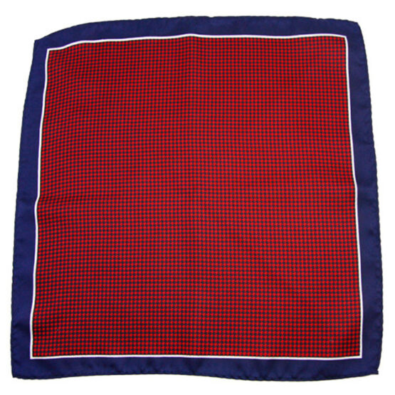 100 silk pocket square houndstooth white navy bluehoundstooth