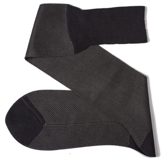 charcaol gray birdseye over the calf cotton luxury socks Viccel socks
