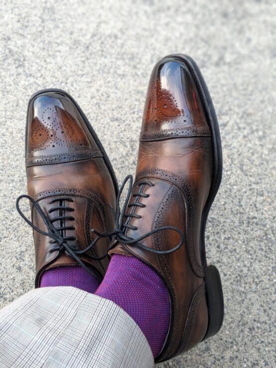 viccel socks royal blue red birdseye over the calf cotton socks