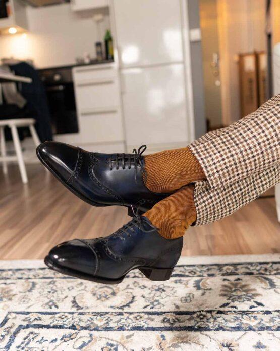 Viccel Brown Mustard birdseye Cotton Socks