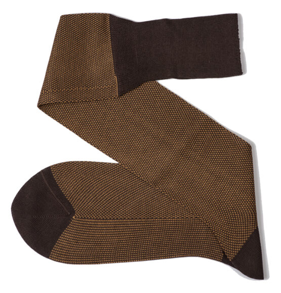 brown mustard birdeye over the calf cotton luxury socks Viccel socks