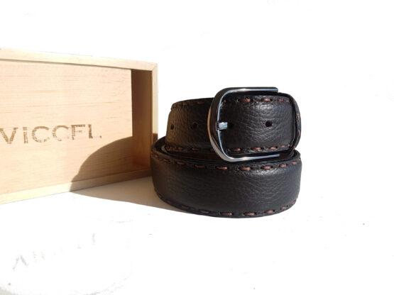 Dark Brown Double Snitch Leather Belt Viccel Belts Luxury Leather Belt