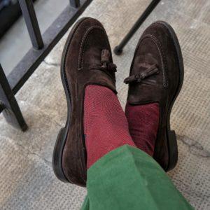 viccel dark green red birdseye over the calf cotton socks