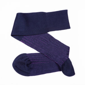 Viccel Navy blue purple egyptian cotton over the calf luxury socks