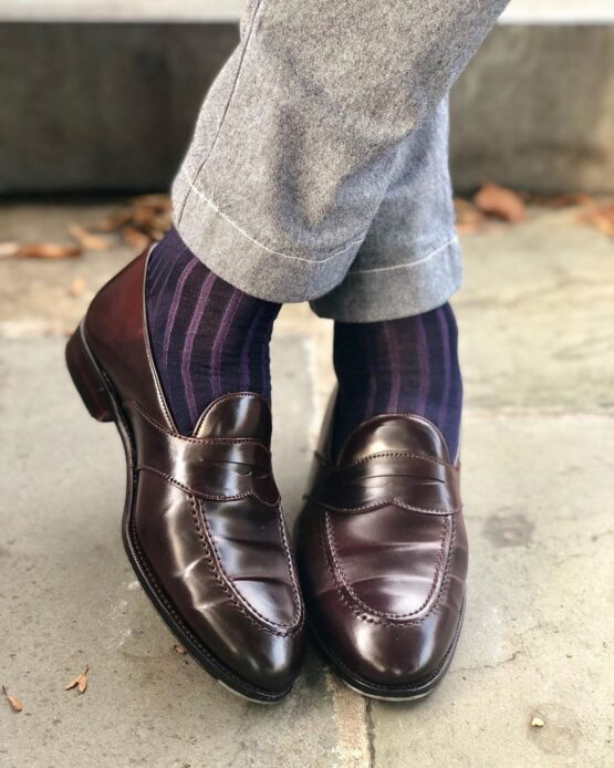 viccel socks navy blue purple shadow over the calf luxury socks