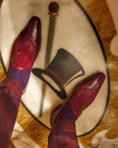 Viccel Burgundy Royal Blue Shadow socks luxury socks