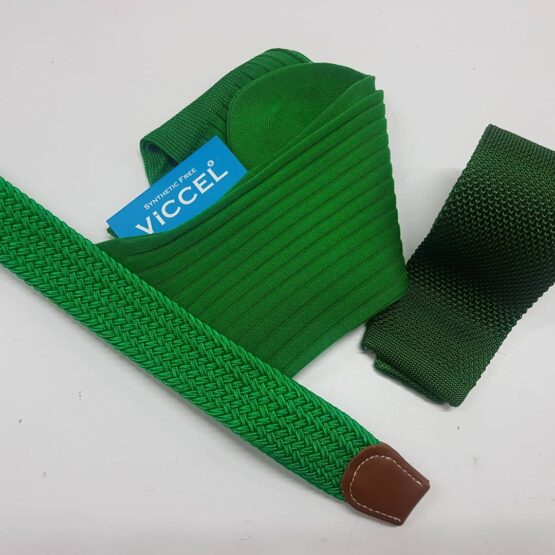 Viccel green socks green tie green belt