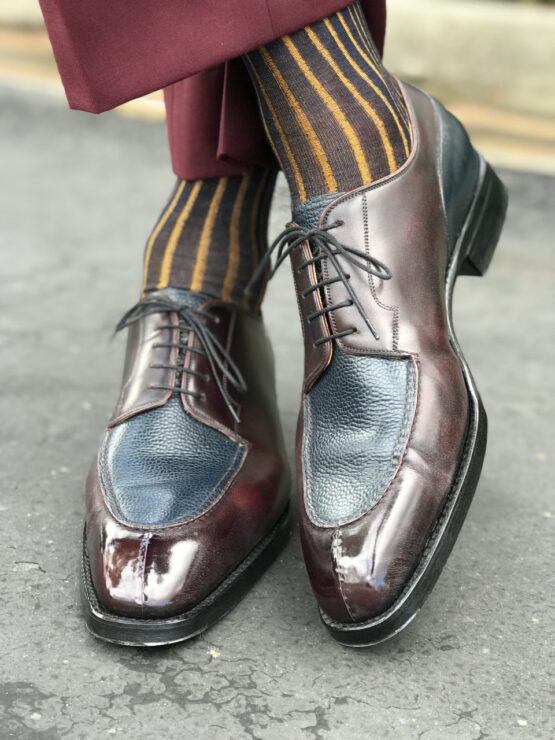 Navy Blue Mustard Viccel Shadow Socks Luxury Socks Cotton Socks father day