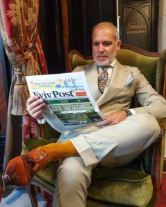 mustard brown pin dots over the calf cotton socks luxury socks italian socks
