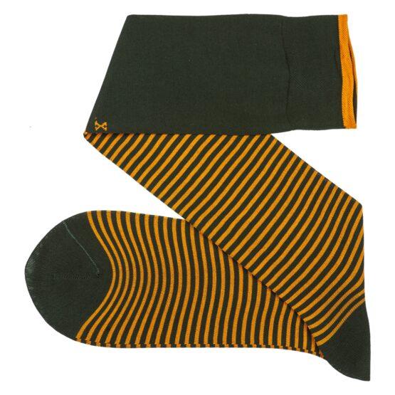 Viccel Striped over the calf green mustard socks