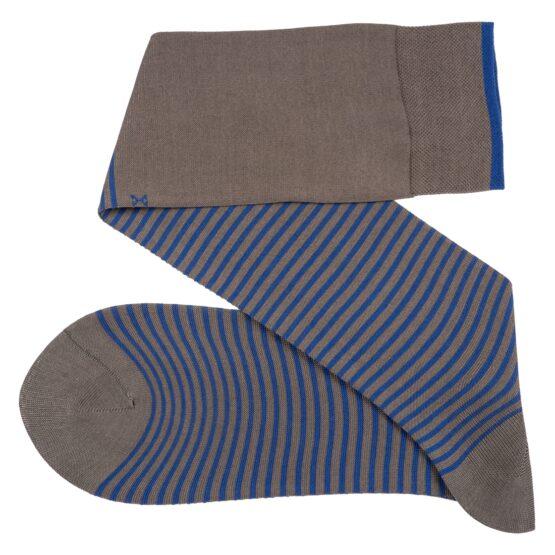 Viccel Striped over the calf Gray royal blue socks