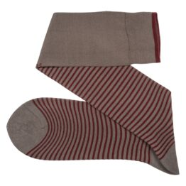 Viccel Striped over the calf Gray Burgundy socks