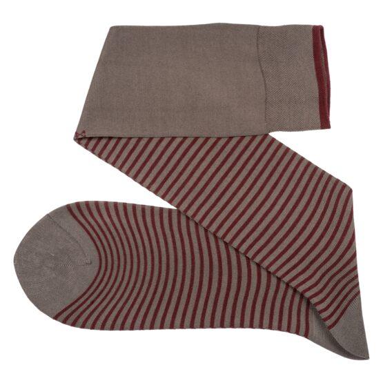 Viccel Striped over the calf Gray Burgundy socks