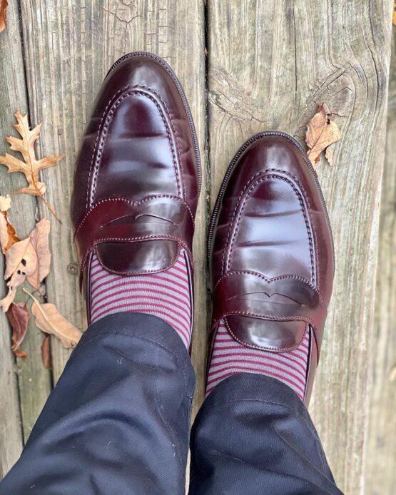 viccel socks gray burgundy striped over the calf socks