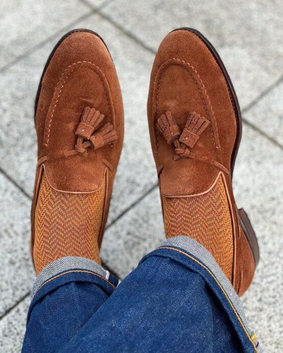 vicccel mustard orange herringbone cotton socks