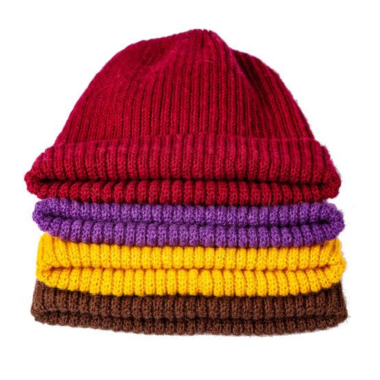 Viccel Brown mustard purple mustard Merino wool hat