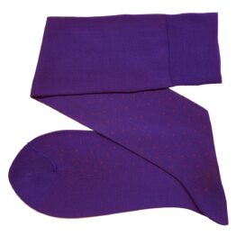 viccel socks purple red pin dot over the calf