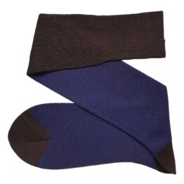 Brown Royal blue Herringbone cotton over the calf socks