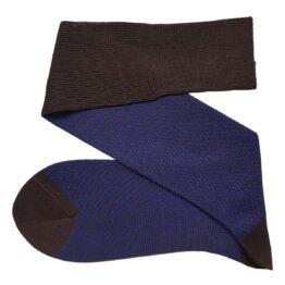 Brown Royal blue Herringbone cotton over the calf socks