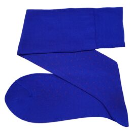 viccel royal blue red pin dots over the calf cotton socks