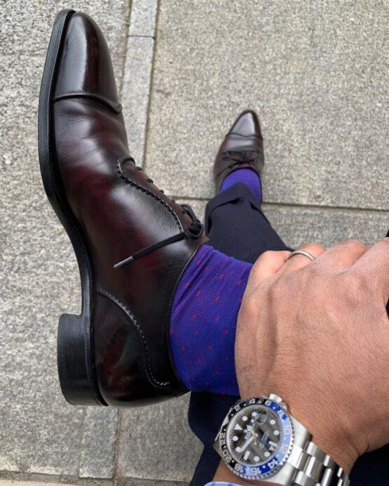 Viccel Royal blue pindots cotton socks