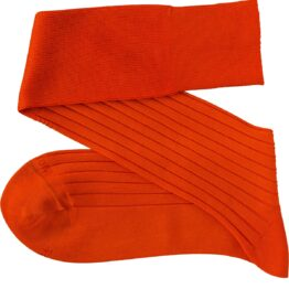 viccel orange ribbed cotton socks