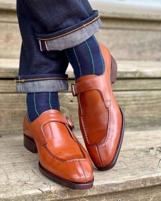 Navy Blue Pindot Striped Cotton Socks