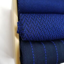 Navy Blue Pindot Striped Cotton Socks