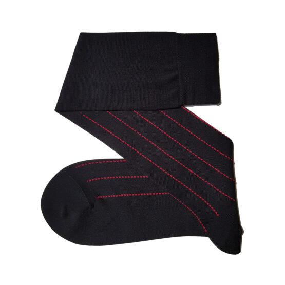 Black Red Pindot Striped Cotton Socks