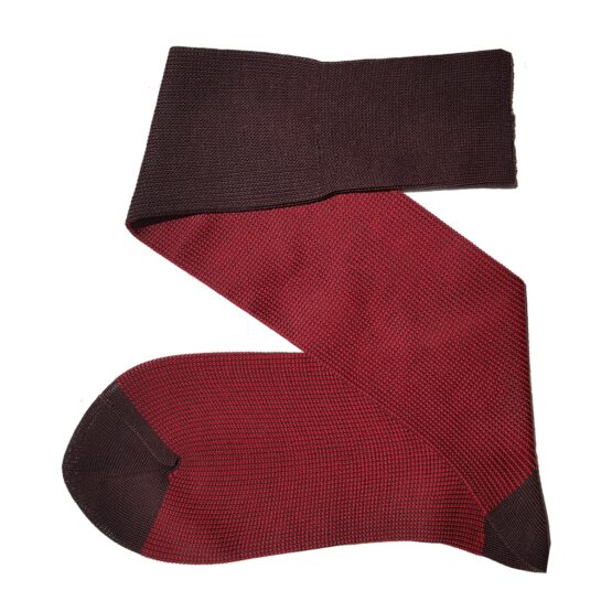 brown red striped cotton socks