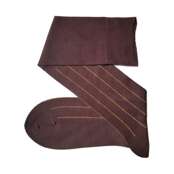 brown mustard pindots stripe socks