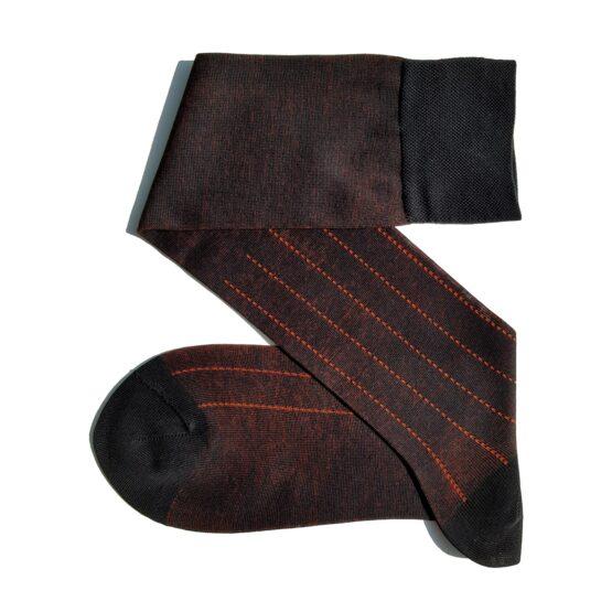 Viccel Black orange Pindot Striped socks